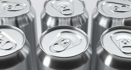 3D Rendering Of Aluminium Cans On White Background With Reflection Studio Shot