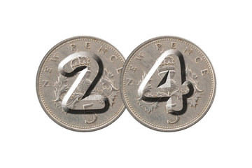 Number 24 with old coins