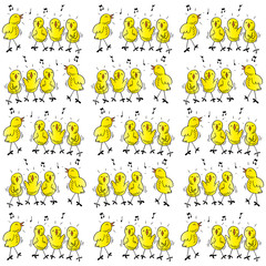 Pattern of funny chickens singing
