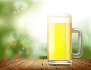 Glass mug with beer