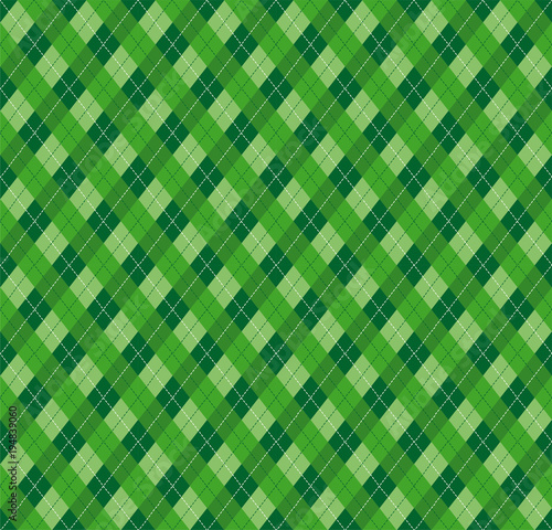Festive Irish Tartan Diamond Seamless pattern for St