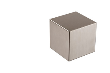 Metal grey cube on a white background ,abstract geometric shape