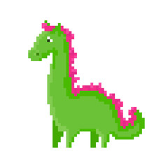 Cute green cartoon pixel dragon. Pretty character on white background.
