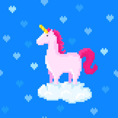 Cute pink unicorn stands on a cloud surrounded by hearts. Pixel art vector image. 8 bit style. Seamless pattern.