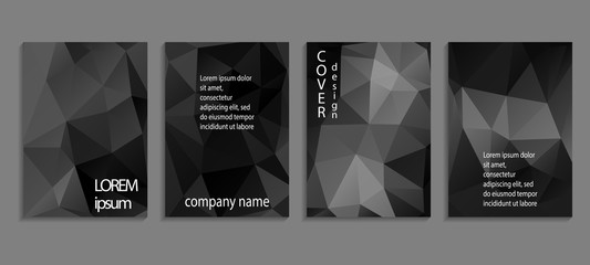 Minimal abstract vector low poly cover design template. Future geometric gradient background. Vector templates for placards, banners, flyers, presentations and reports