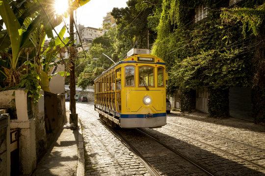 Old yellow tram in Santa Teresa district in Rio de Janeiro, Brazil