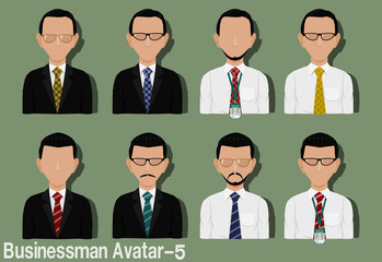 Businessman Avatar with Variation of necktie ,shirt,eyeglasses and suit.Characters are based on Strawberry head with Side Part hair style.and Strawberry head with Pompadour hair style.