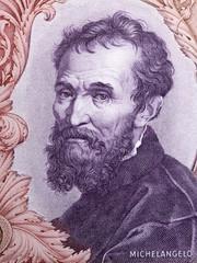 Michelangelo portrait from Italian money