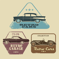 Vector vintage car icons