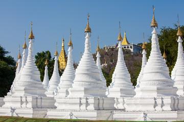 View to the complex of Kuthodaw pagoda near Mandalay, Myanmar