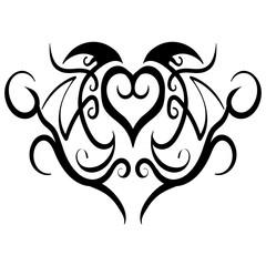 Abstract heart tribal tattoo design vector