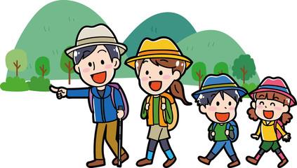 リュックをもってハイキングに行く家族のイラスト素材