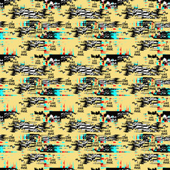 Glitch yellow background. Computer screen error. Digital pixel noise abstract design. Video game glitch. Television signal fail.