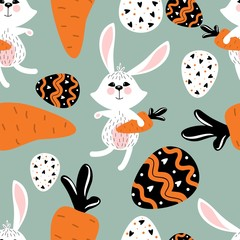 Easter pattern with cute rabbits and carrots. Vector illustration. For textiles, cards, wallpaper