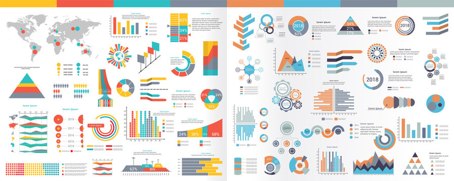 A collection of infographic elements Illustration in a flat style