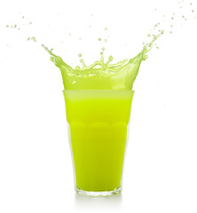 Wall Mural - green juice glass splashing isolated on white
