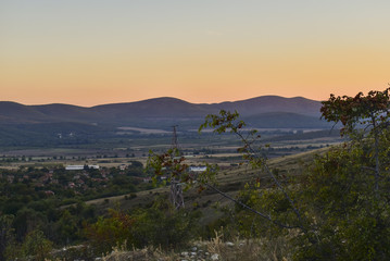 Moments before sunset at the hills near Gavrailovo village.