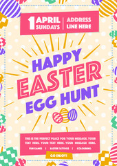 Happy easter party poster with wish - happy easter day egg hunt colorful style for pecial offer, promotion, banner sale, holiday flyer, decoration, stamp, label. Vector Illustration