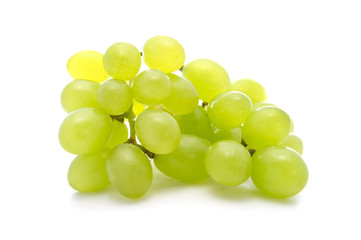 Ripe bunch green grapes isolated on the white background