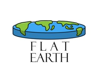 Flat Earth Logo, a hand drawn vector cartoon illustration of a flat earth.