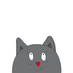 Funny cartoon grey cat looking from the bottom of the page - original hand drawn illustration