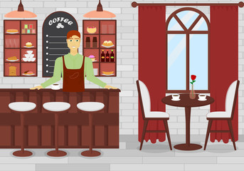 Vector Illustration of Coffee shop interior with man bartender in flat cartoon design.