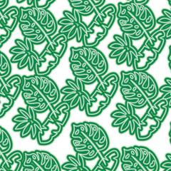 tropical spring leaves natural seamless pattern vector illustration neon line design