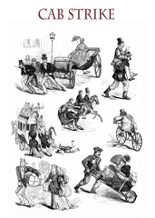 Cab strike, no horses, funny situations and caricatures, XIX century illustration