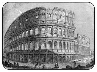 Rome, magnificent Colosseum, XIX century engraving