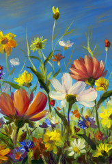 Summer flower field on blue sky background art. Wildflowers floral painting. Multicolored bright summer Landscape flowers illustration.