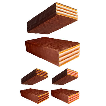 Chocolate wafer 3d photo realistic vector set