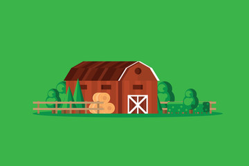 Farm barn with haystacks on green background vector illustration