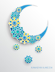 Paper graphic of islamic crescent moon, star shape. Islamic decoration. Ramadan Kareem - glorious month of Muslim year. Modern 3d paper cut concept