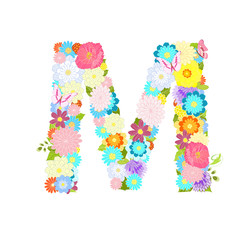 Romantic letter of meadow flowers and butterflies M
