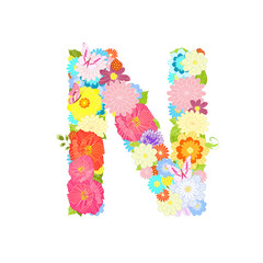 Romantic letter of meadow flowers and butterflies N