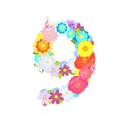 Romantic number of meadow flowers and butterflies nine