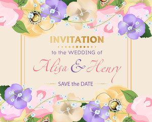 Wedding invitation template with beautiful flowers greeting card. Vector