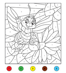 Color by number (bee). Game for children, education game for children. Color by number, black and white illustration.