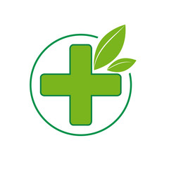 Vector sign homeopathy, alternative medicine in pharmacy. green cross and leaf