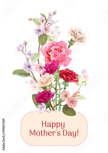 Vertical Card For Mothers Day With Carnation Spring Blossom Red Pink White