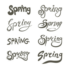 Spring. Inscription hand draw design. Eight variants of writing.  Vector templates isolated on white background.