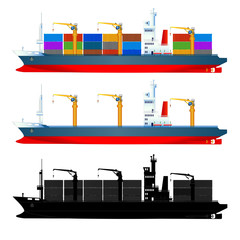 Container ship, side view, isolated, vector