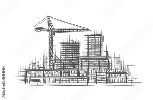 Construction site sketch, hand drawn, vector.\