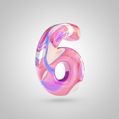 Glossy holographic pink number 6 isolated on white background