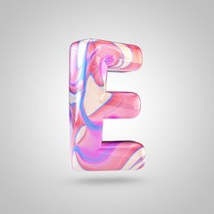 Glossy holographic pink letter E uppercase isolated on white background