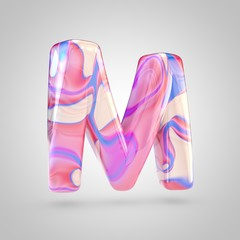 Glossy holographic pink letter M uppercase isolated on white background