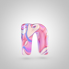 Glossy holographic pink letter N lowercase isolated on white background