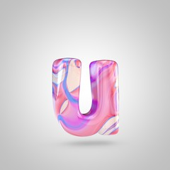 Glossy holographic pink letter U lowercase isolated on white background