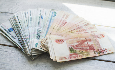 russian banknote on the background wooden