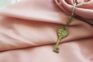 a small key with a beautiful shape on the background fabric (close up)